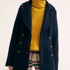 NEW Free People City Limits Fitted Peacoat Navy